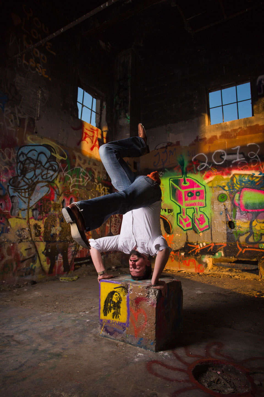 Aaron demonstrates his capoeira