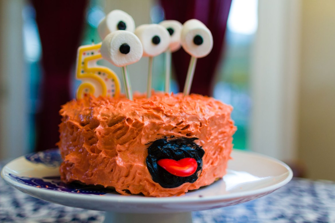 Birthday Cake with a goofy face