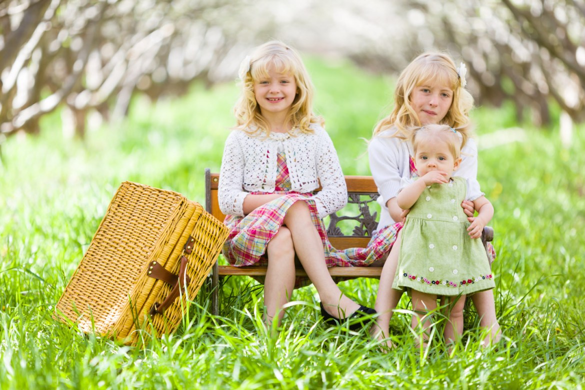 Just the girls on the park bench