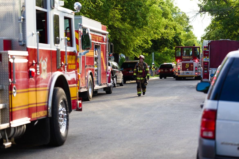 4 fire trucks, four alarm fire