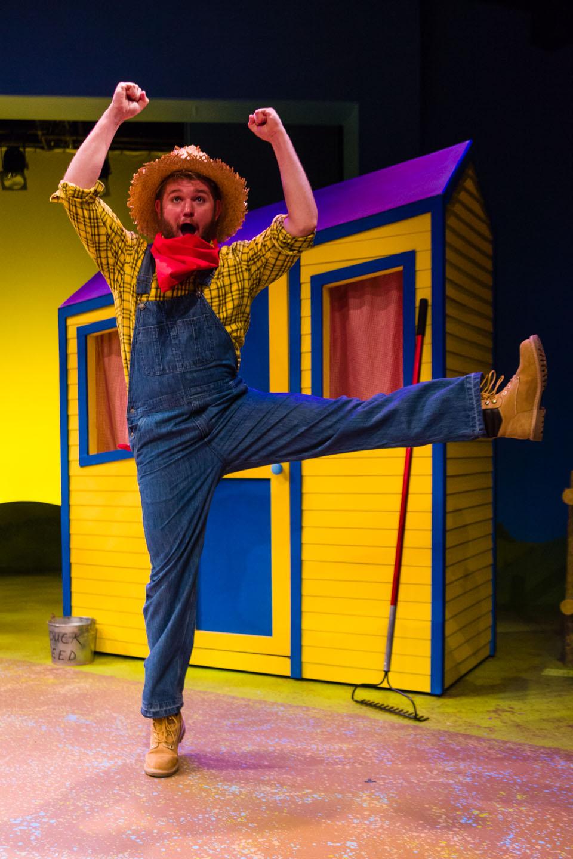 Farmer dances in Click Clack Moo