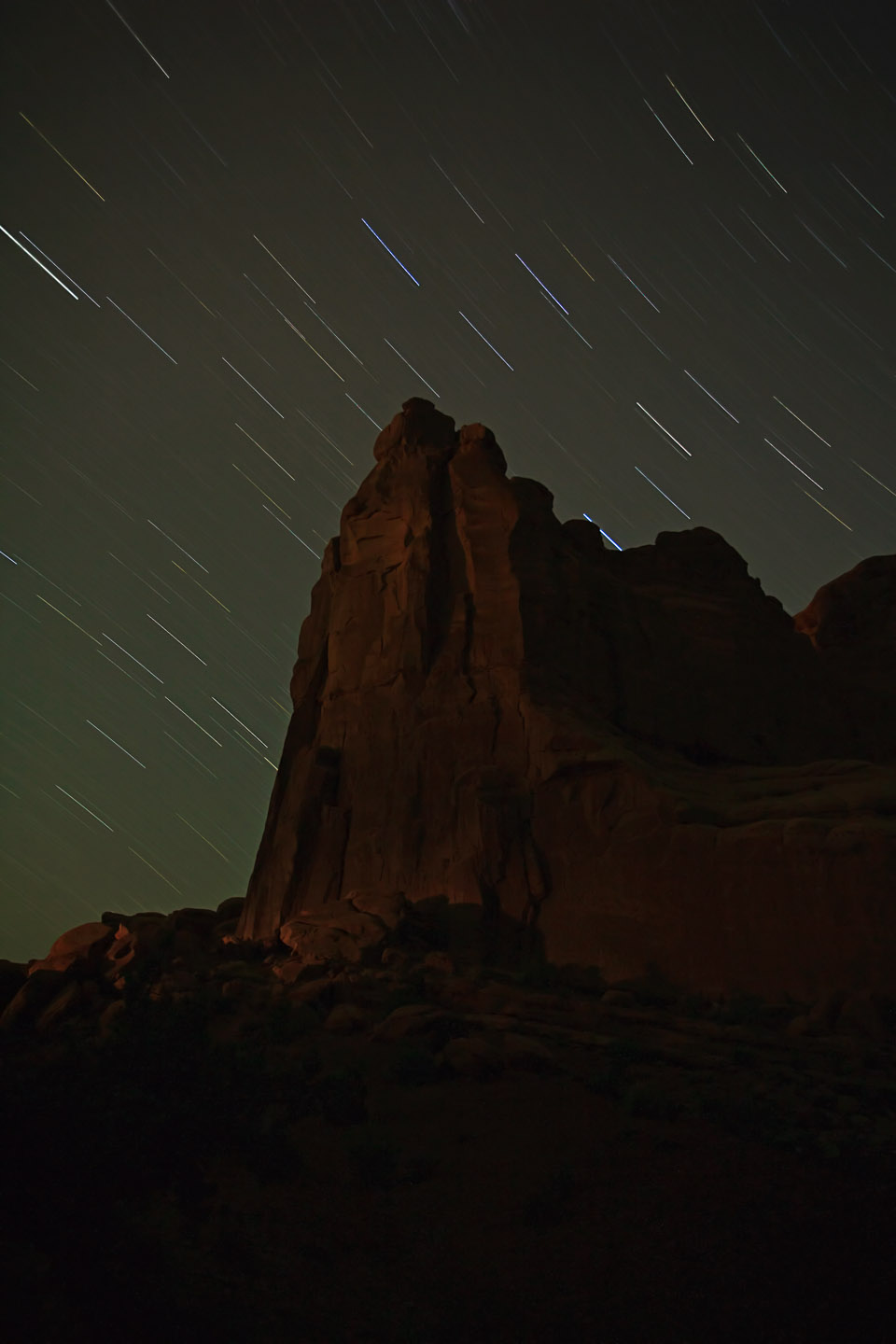 Star Trails at night over Moab Park Avenue