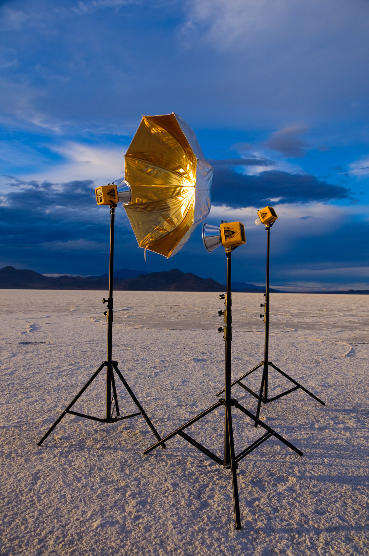My studio lighting on the Bonneville Salt Flats