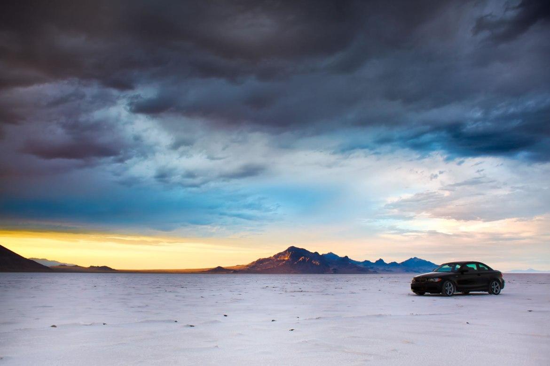 A BMW races across the Bonneville Salt Flats