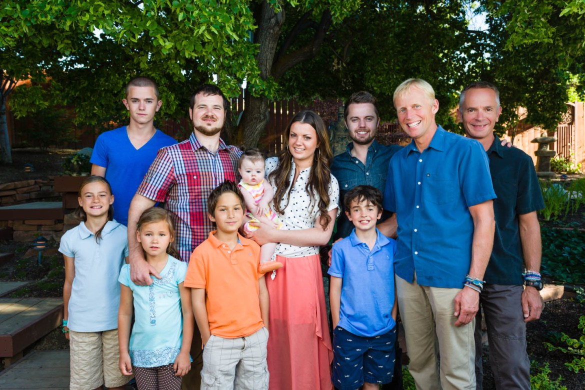Different locations in the backyard for family portraits