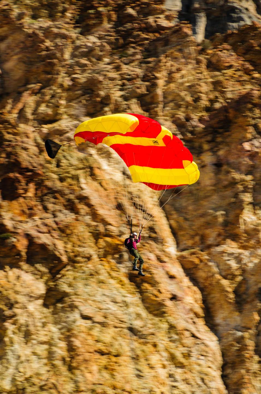 Base jumper in Rock Canyon in Provo Utah