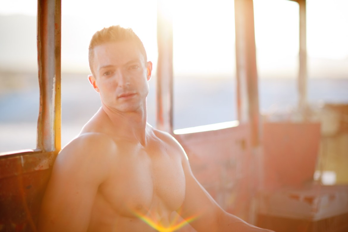 Sunflare and male model