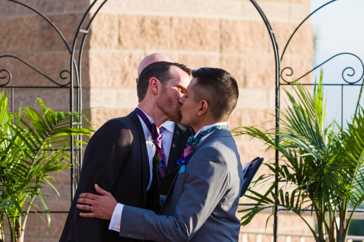 The first kiss as a married couple