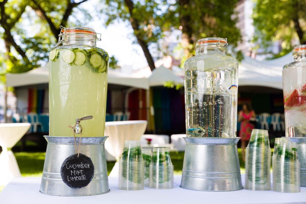 Infused waters and cucumber mint limeade