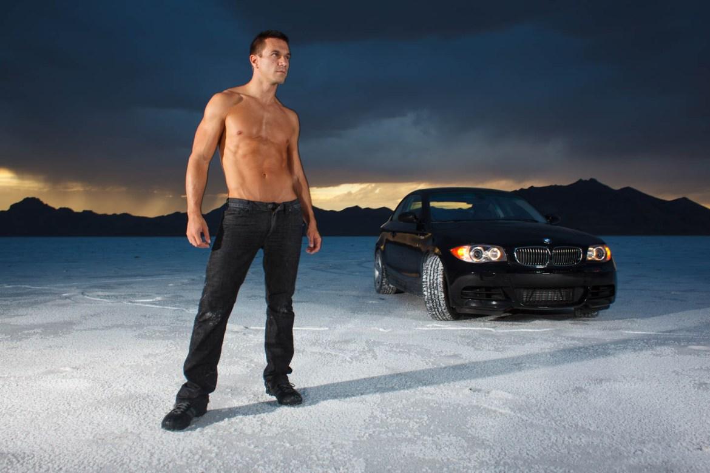 Jacob and his BMW on the Bonneville Salt Flats