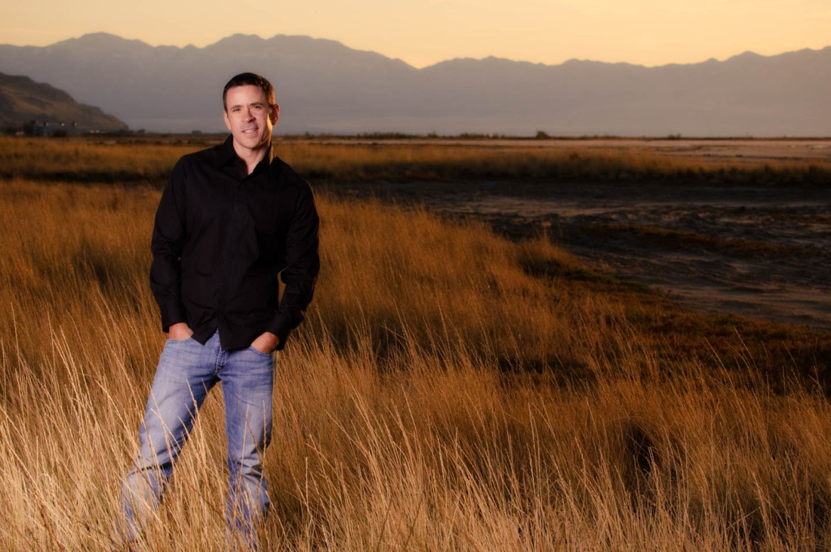 Jay in the tall grass by the great Salt Lake