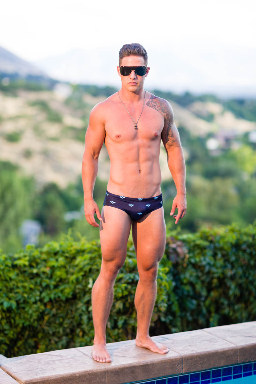 Luke models Aronik Mission Call swimwear