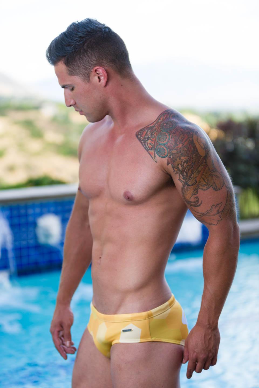 Luke models Aronik Wasatch swimwear