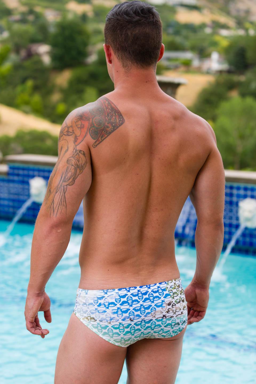 Luke models Aronik Hawaiian Mission swimwear