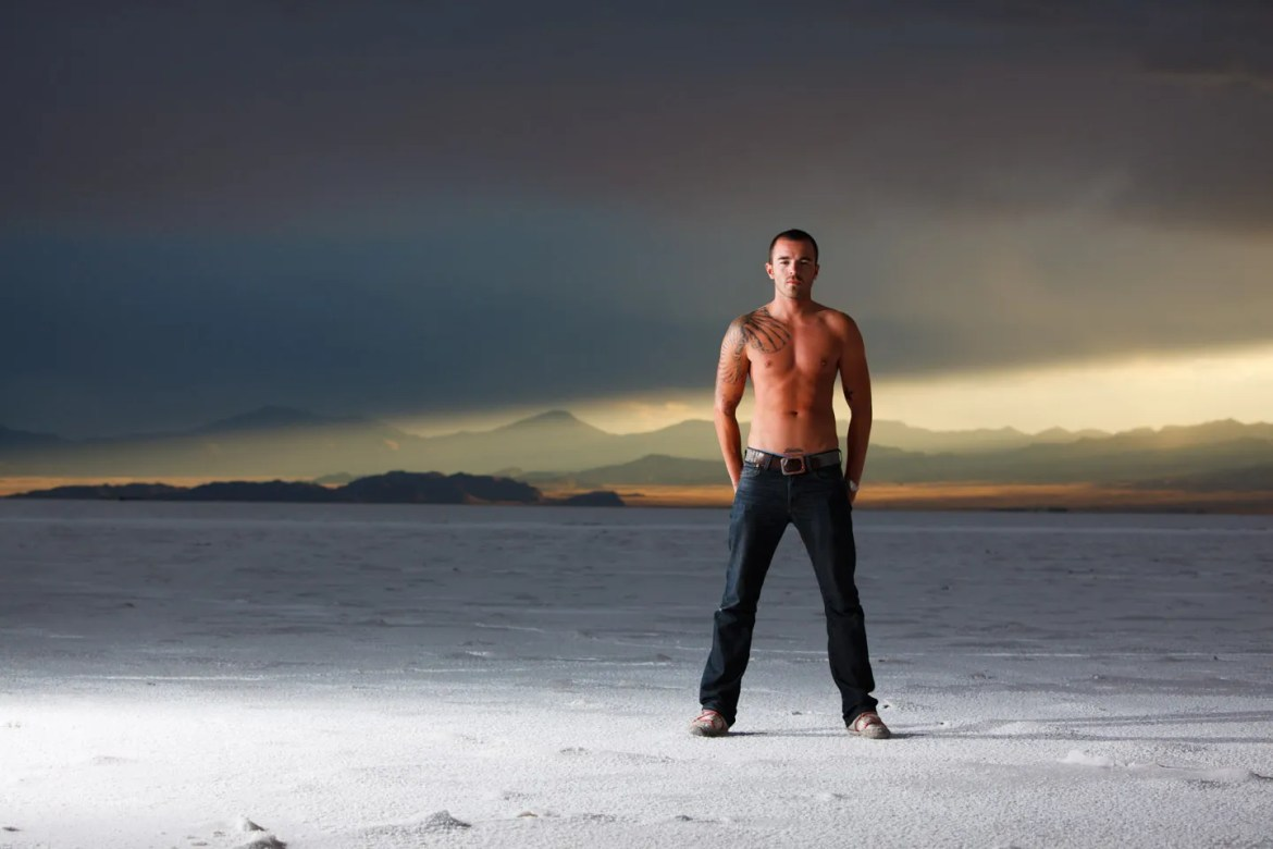 Male models rock the photo shoot on the Bonneville Salt Flats