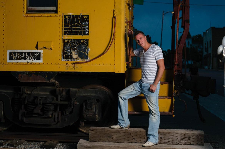 Brian and the abandoned trolley in Eureka, Utah
