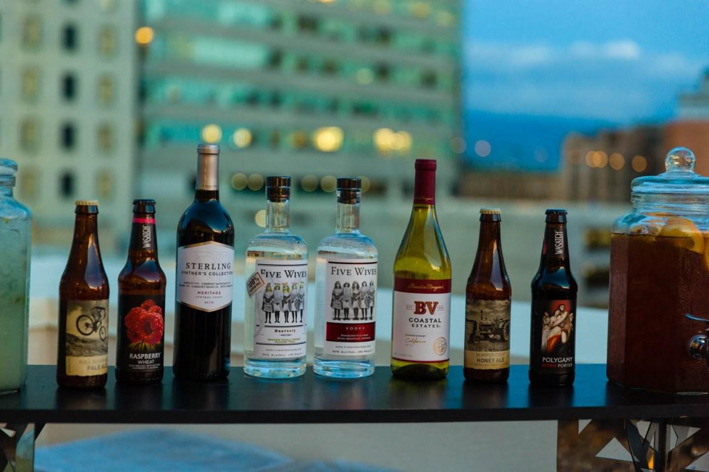 Drinks and the Salt Lake skyline