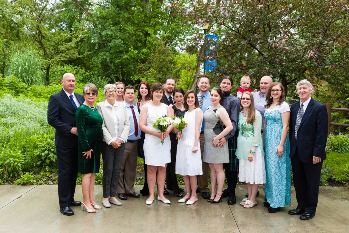 Group photos. We would run outside every few minutes as people wanted photos with the brides