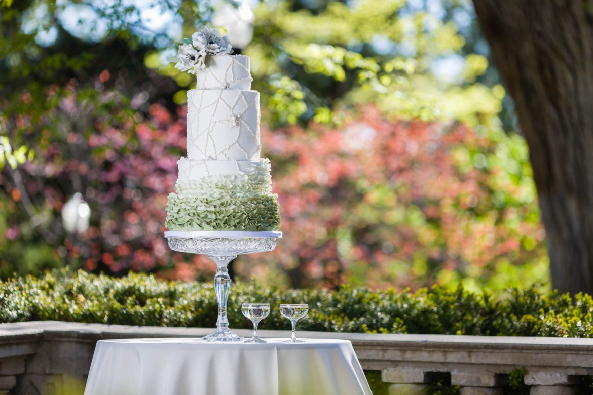 Wedding cake in spring with blackberries in faux-champagne