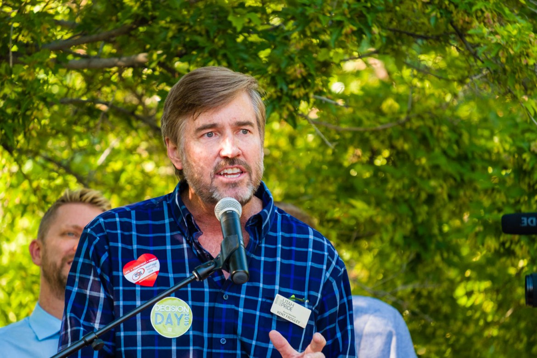 Kent Frogley of the Utah Pride Center speaks