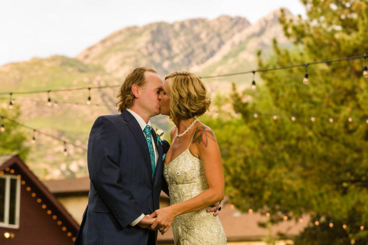 Mount Olympus behind the bride and groom