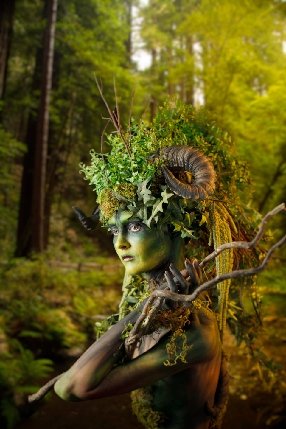 Model from Photoshop World added to forest scene in Photoshop