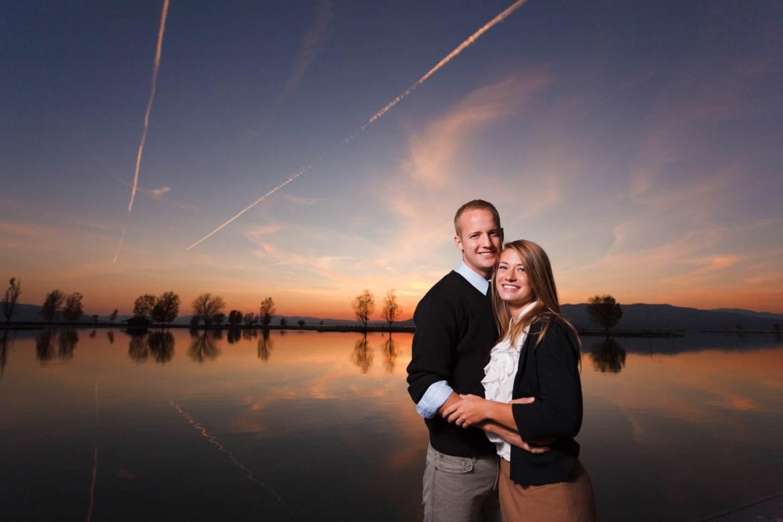 Sunset over Utah Lake creates perfect portraits