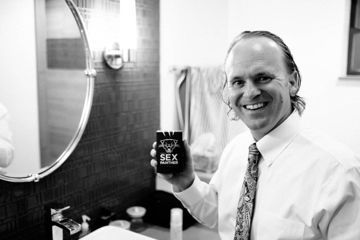 Groom shows of his humorous cologne