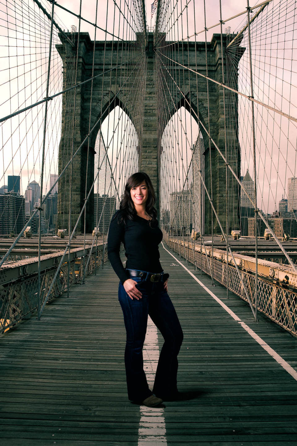 She was a fan of New York so I photoshopped her into New York's Brooklyn Bridge