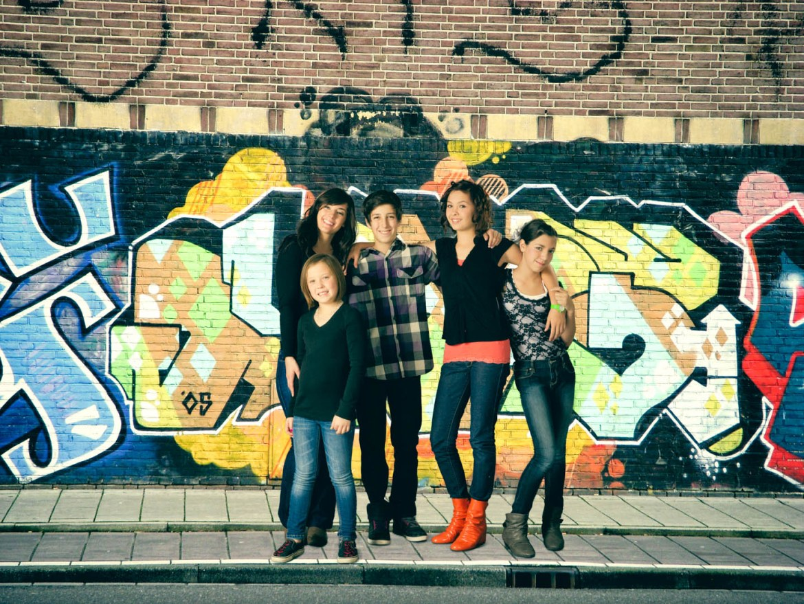 Photoshopped the kids into a street with graffiti