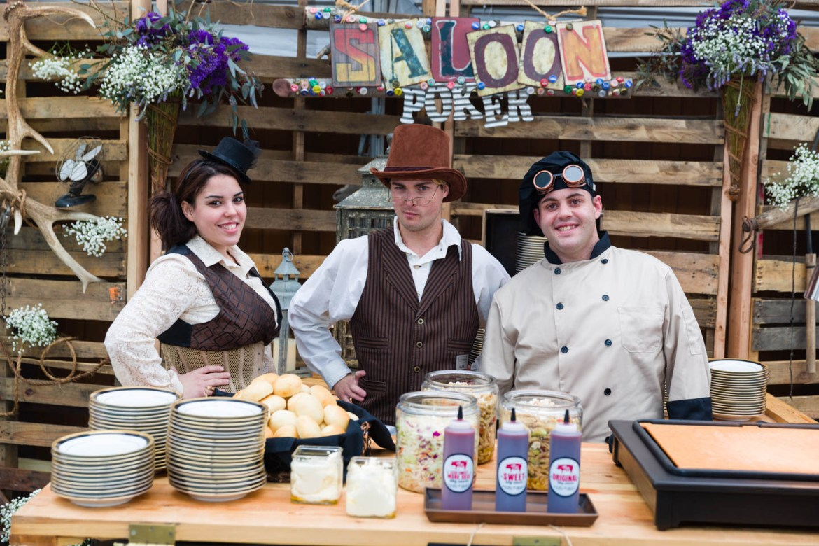 Steampunk dressed caterers