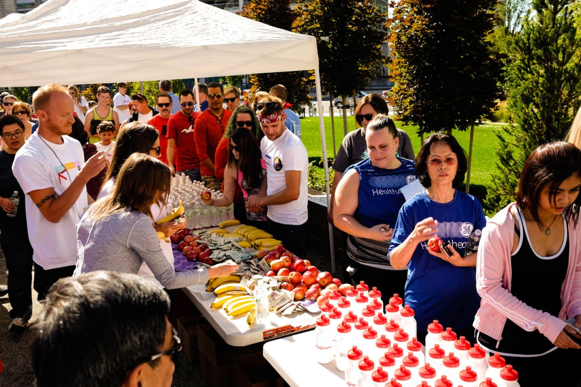 Walkers get snacks and water after the Walk for Life