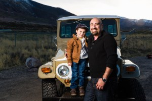 Father and son with the restored truck