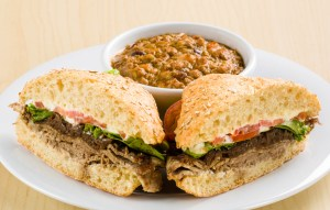 Beef & Onion Sandwich with side of green chili