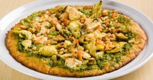 Chicken artichoke pine nut flatbread