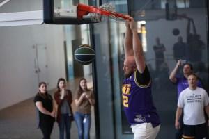An audience member gets a dunk