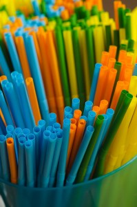 Colorful straws as part of the party details