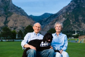 The grandparents with Rocco the dog