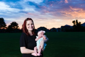 Mom and daughter and the sunset