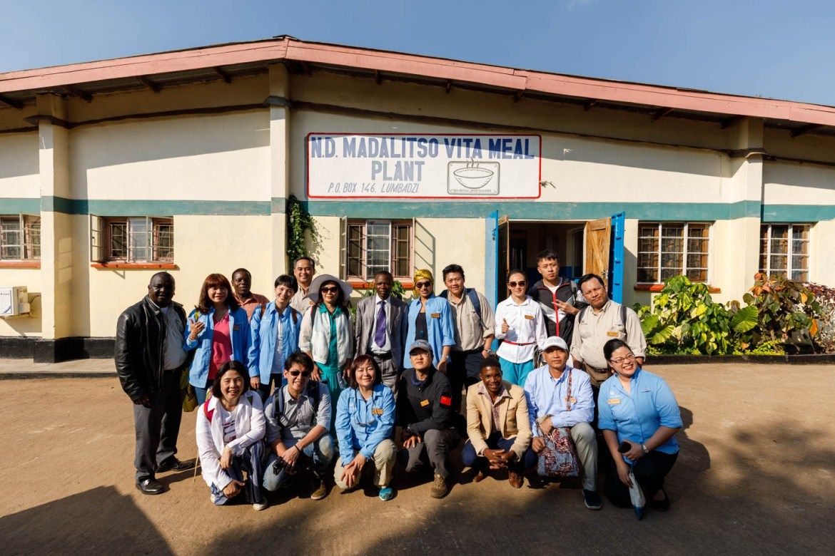 Distributors in front of the factory in Malawi