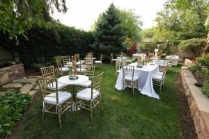 A backyard wedding reception