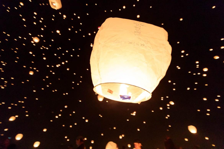 Lanterns float away