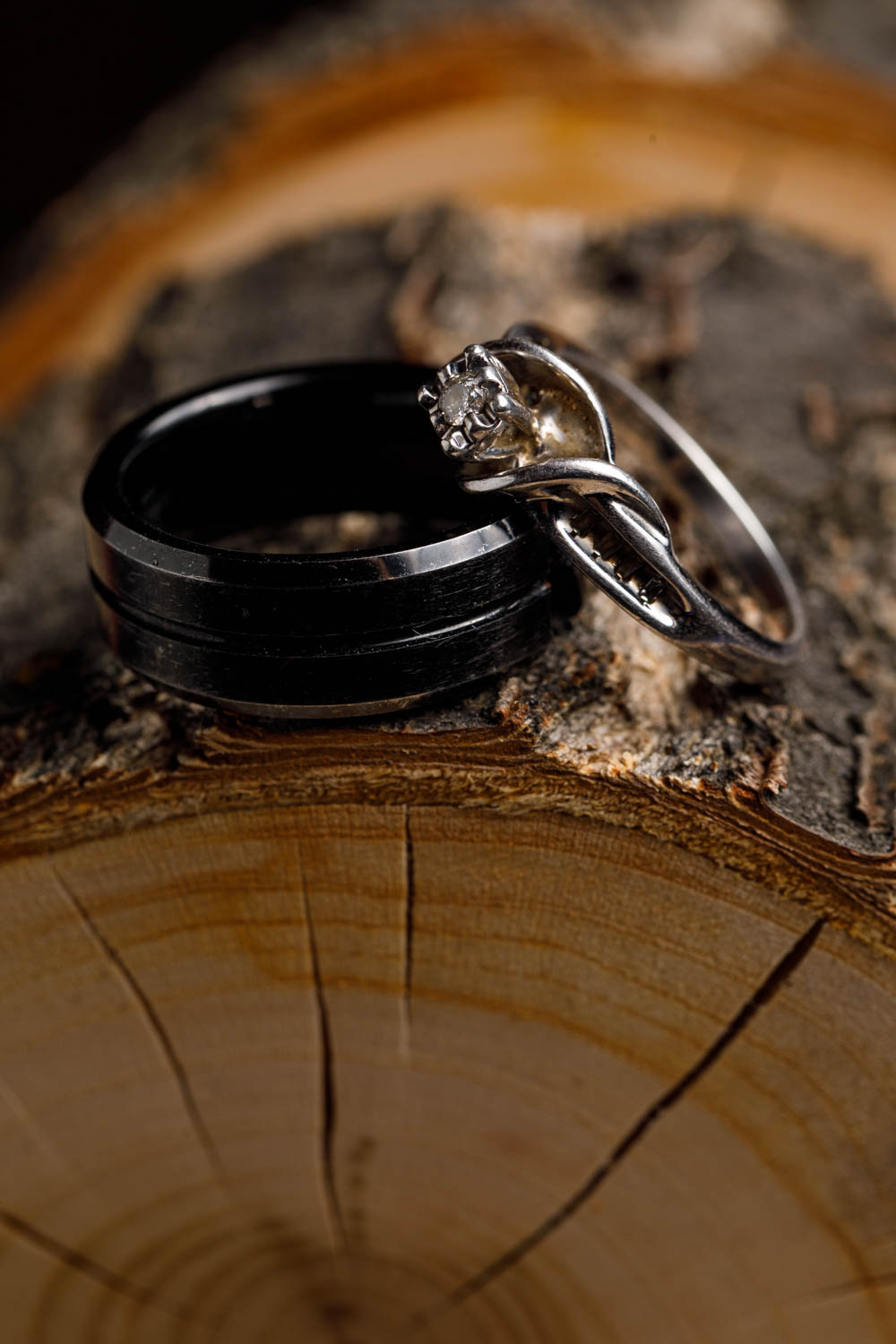Wedding rings on the custom made tree box