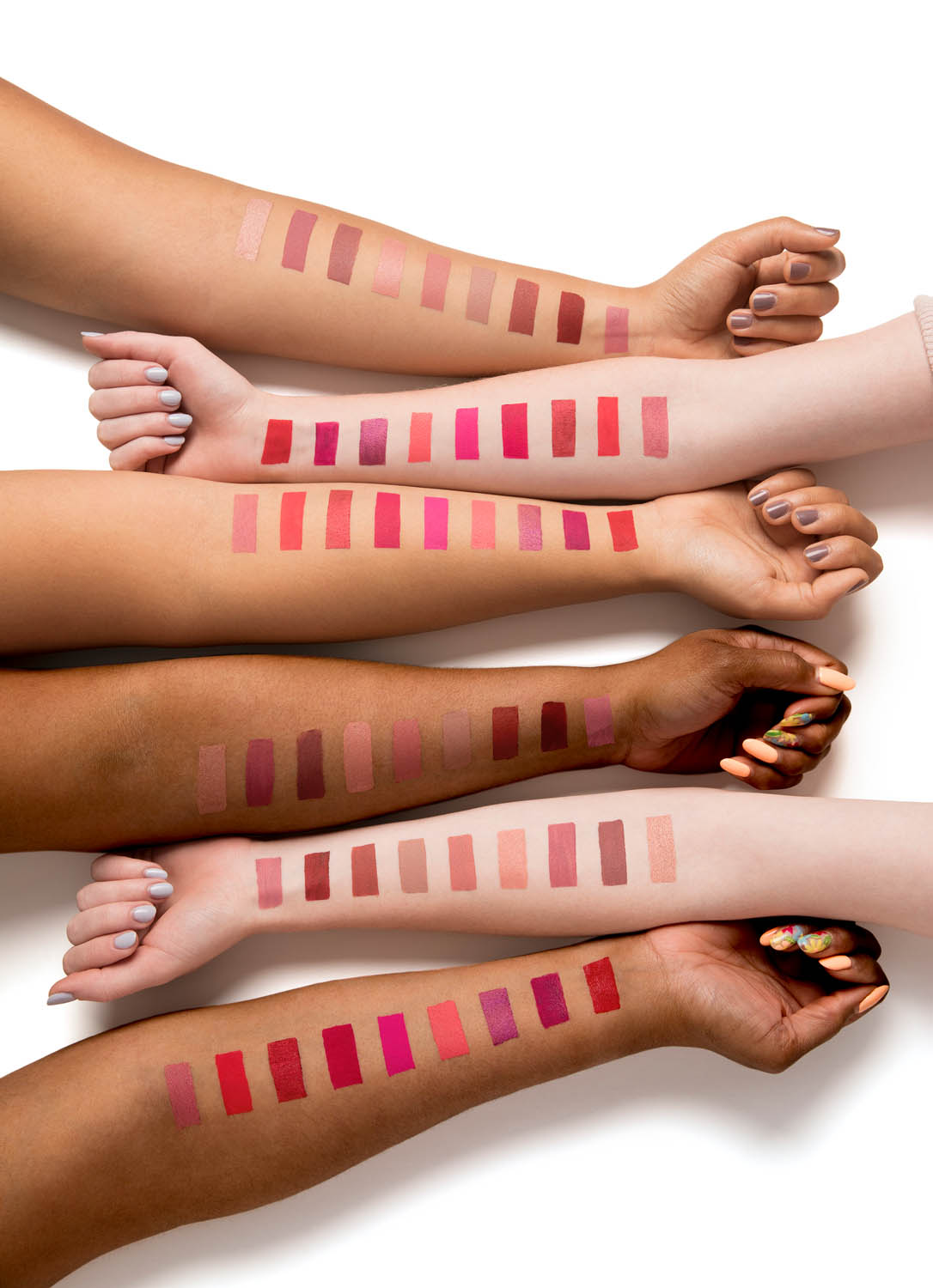All the shades on different skin tones