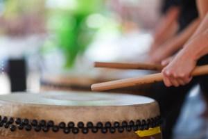 Drummers perform