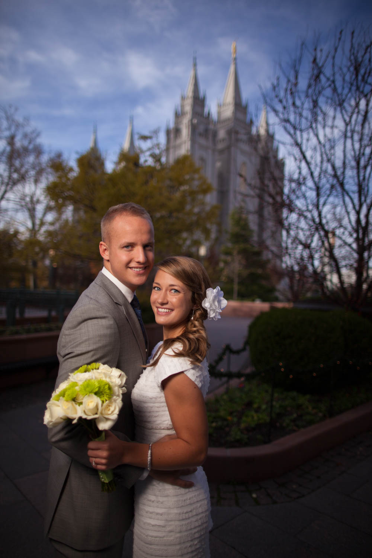 Dramatic formal wedding photo