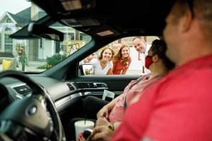 A drive-thru wedding reception