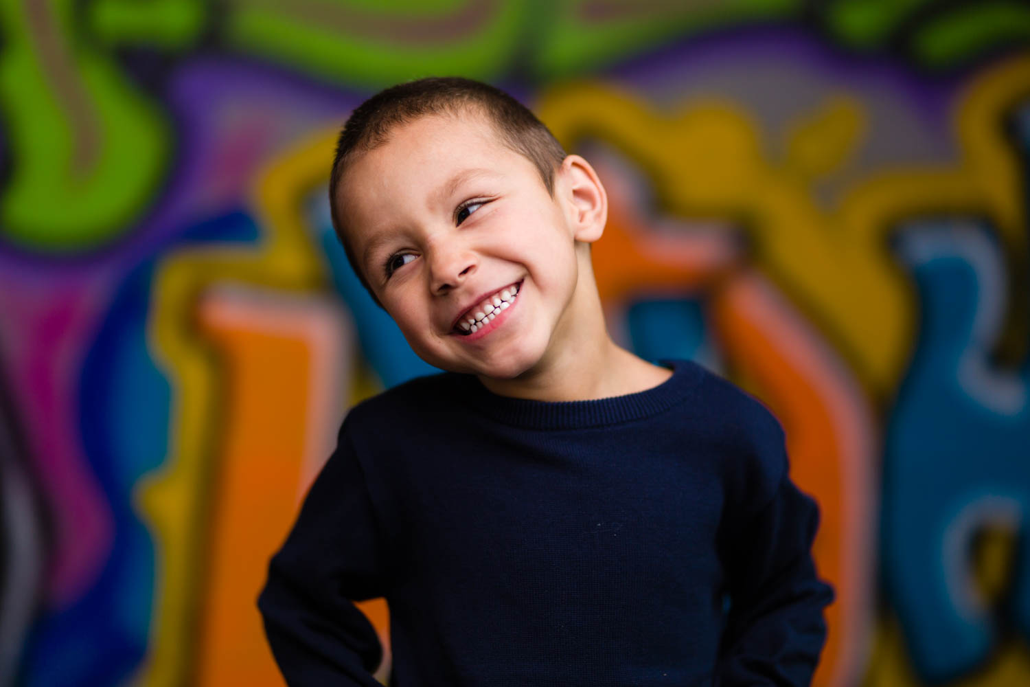 Getting smiles with graffiti background
