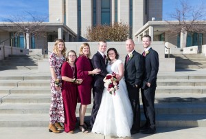 Immediate family with the bride and groom
