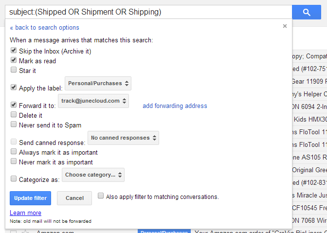 Creating a filter in GMail to handle shipment notifications